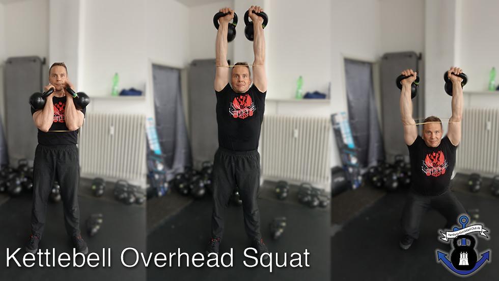 Double Kettlebell OverHead Squat Korrekturübung mit Gummiband