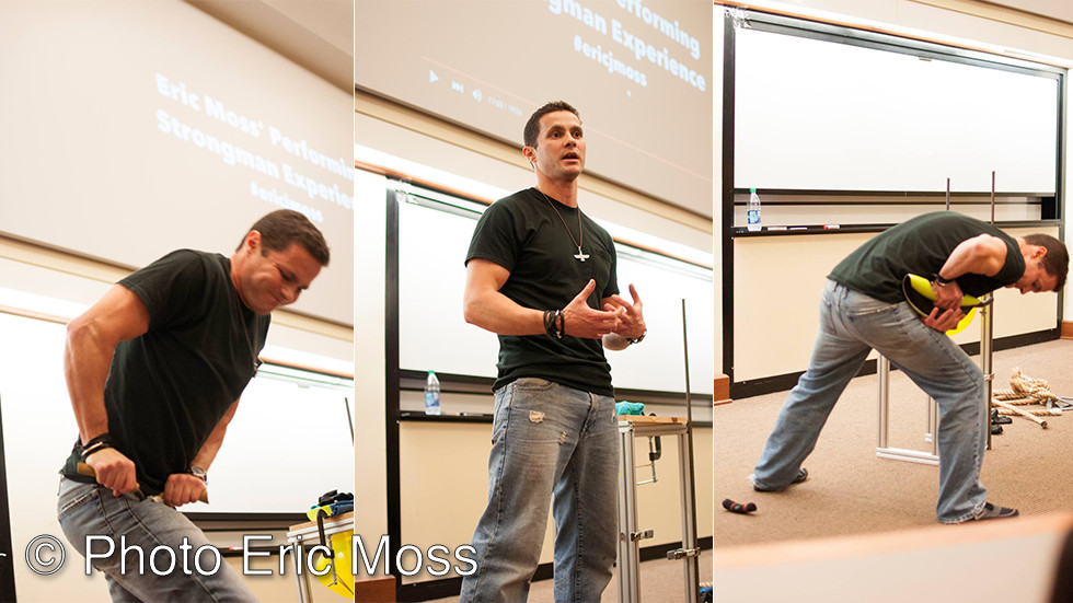 Eric Moss performing at a university