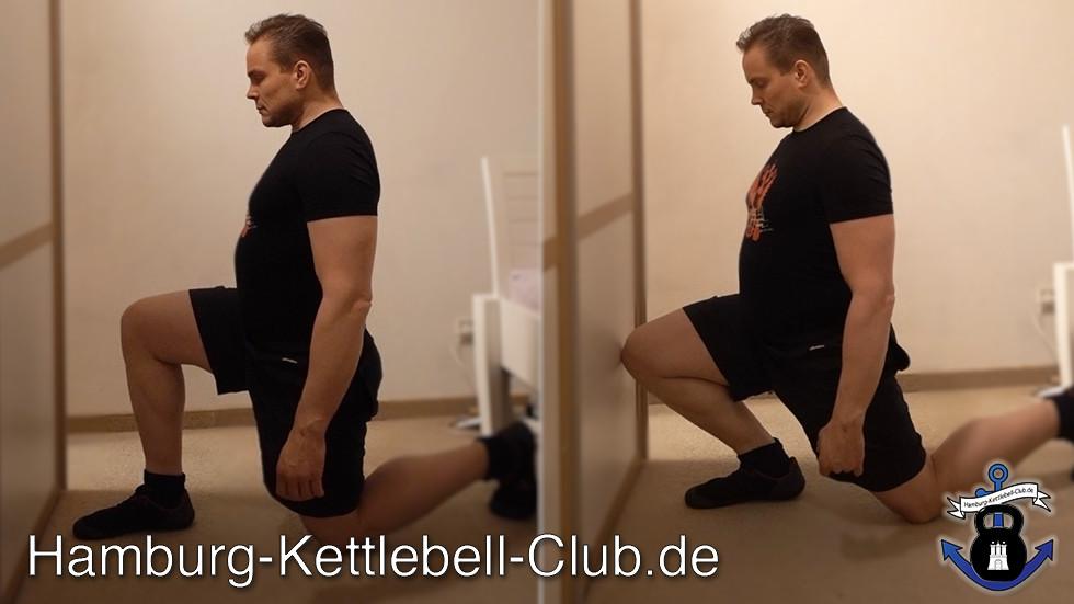 Sprunggelenksmobilität mit Knie die Wand berühren