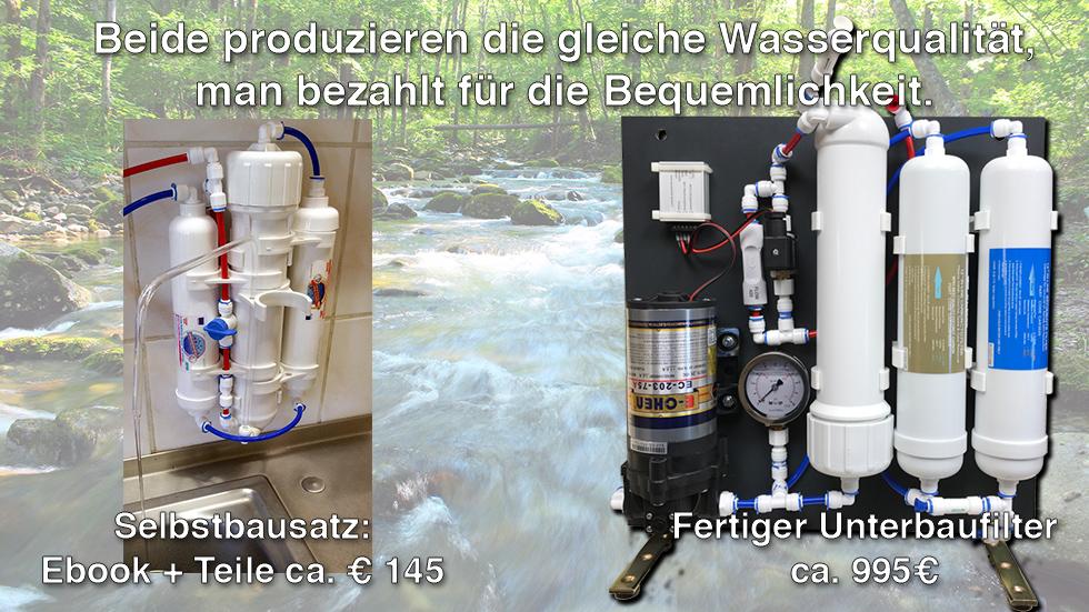 Reines Trinkwasser mit Osmosefilter - Miminus (Selbstbausatz ca. 145€)  Aquamichel (ca. 995€ Fertiger Unterbau-Wasserfilter)